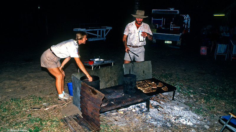 Mary-Anne and Scotty cooking some more beautiful steaks to round off yet another great meal out here in the wilderness. We have great days and evenings with them. How good is that?