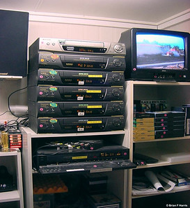 My 'master' VCR 'player' and six VCRs through a signal amplifier to record six tapes at once. Luxury