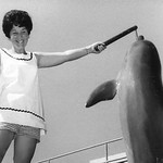 Barbara Ison at Sea World with dolphin