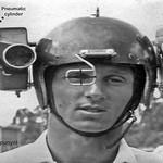 Lofty Harris with his very heavy helmet mounted 8mm movie cameras.