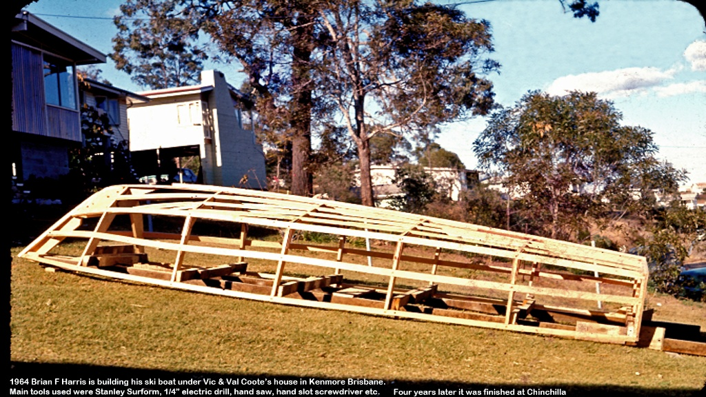 Brian has built this frame for  ski boat under Vic & Val's house. Hot water used to steam bend wood.
