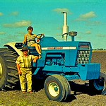 Cindt Ison and her father Horrie. New Ford 10000 tractor at Nangwee.